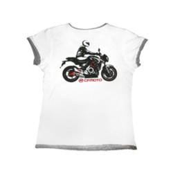 Футболка белая  CFMOTO с мотоциклом женская